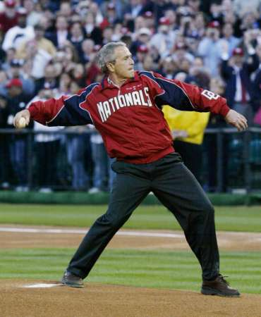 Bush throws first pitch Nats openerr1996007899.jpg